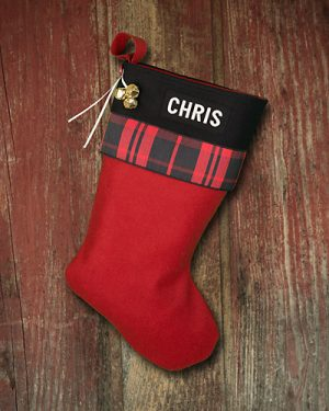 "Lodge Christmas Stocking Personalized ""Chris"""