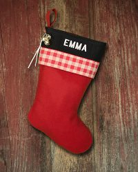 "Personalized ""Emma"" Lodge-Style Stocking"