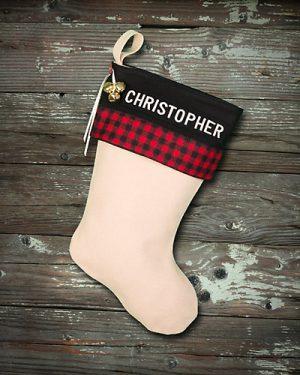 "Buffalo Plaid Lodge ""Christopher"" Christmas Stocking Personalized"