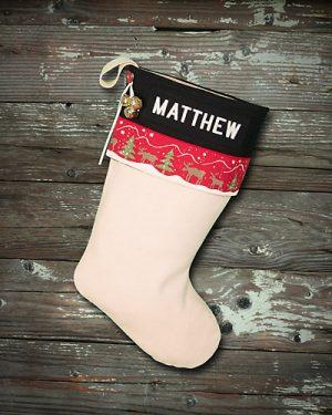 "Rustic Personalized Christmas Stocking ""Matthew"""