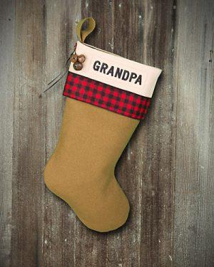 "Personalized ""Grandpa"" Christmas Stocking Lodge-Style"
