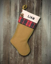 "Cabin Plaid ""Liam"" Personalized Lodge Stocking"