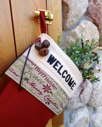 "Personalized ""Welcome"" Christmas Stocking Lodge-Style"