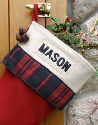"Cabin Plaid Lodge ""Mason"" Christmas Stocking Personalized"