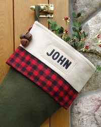 "Buffalo Plaid Personalized Christmas Stocking ""John"""