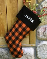 Personalized Orange Buffalo Plain Flannel Christmas Stockings