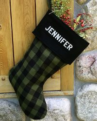 Buffalo Plaid Flannel Personalized Christmas Stockings Green