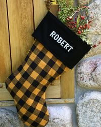 Yellow Buffalo Plaid Personalized Christmas Stocking