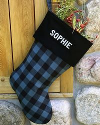 Blue Buffalo Plaid Personalized Christmas Stocking