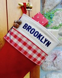 "Red ""Brooklyn"" Lodge Personalized Christmas Stocking"