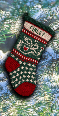 Knit Baby Angel Christmas Stocking Green