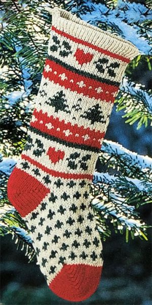 Evergreen Christmas Stocking Knitted Traditional