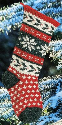 Handmade Holly Christmas Stocking Traditional