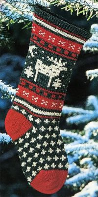 Traditional Knitted Moose Christmas Stocking