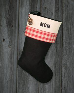 "Personalized ""Mom"" Christmas Stocking Lodge-Style"