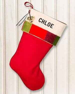 "Personalized ""CHLOE"" Christmas Stocking Glitz"