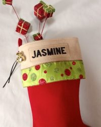 "Personalized ""JASMINE"" Glitz Christmas Stocking"