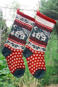 Cabin Christmas Stocking Knitting Kit and Pattern