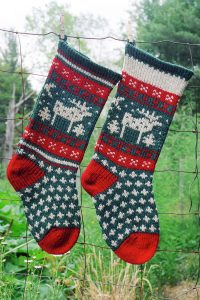 Christmas Stocking Knit Kits and Pattern Moose