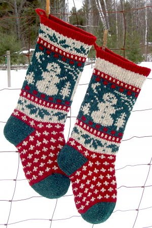 Snowman Christmas Stocking Knitting Kit and Pattern