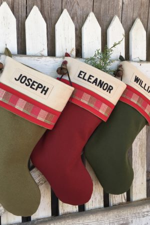 Lodge Velvet Plaid Personalized Christmas Stockings