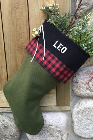 "Personalized ""Leo"" Christmas Stocking with Buffalo Plaid"
